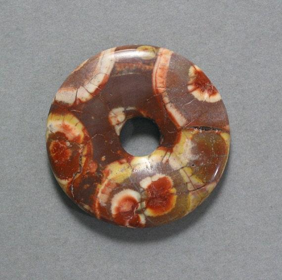 BIRDS EYE RHYOLITE round pendant 40mm disc donut bead