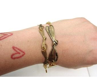 dragonfly bracelet - gold - large