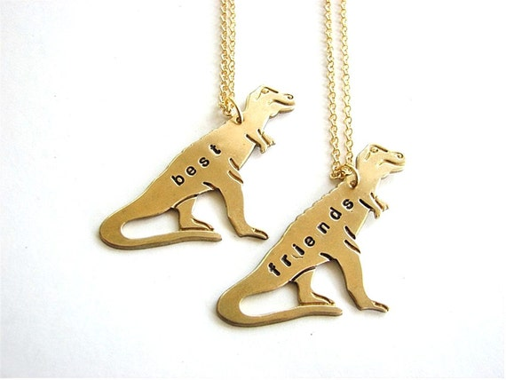 best friends T-REX necklace set - tyrranosaurus personalized custom jewelry bff necklace TREX - As seen on Buzzfeed