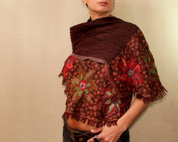 Brown Wool Pashmina, Pashmina Scarf, Long Scarf, Pashmina Wrap, Unique Pashmina Shawl, Red Flower Hand Embroidery, Wool Woven Cowl / Unique
