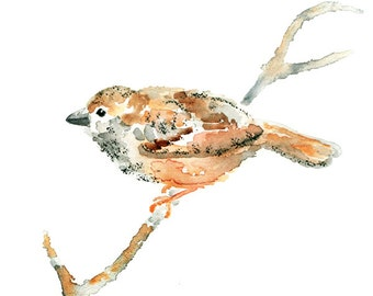 Peach Nursery Wall Art, Bird Nursery Art, Bird Watercolor Print, bird art, peach nursery decor, nursery art print, sparrow painting