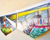 BOATS Vintage Little Golden Book storybook Nursery Paper Banner  Repuposed  Eco Friendly Childrens story book Birthday party baby shower
