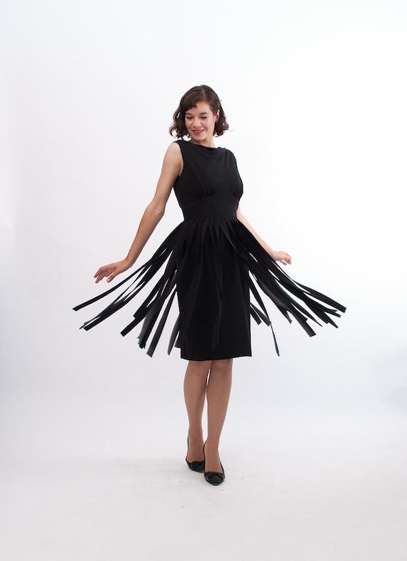 Vintage 1960s Cocktail Dress - 60s Little Black Dress - Car Wash Fringe