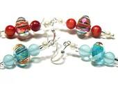 Faceted Lampwork Glass Earrings, Blue Larimar or Red Coral Earrings, Sterling Silver Earrings, Colorful Beaded Earrings, OOAK