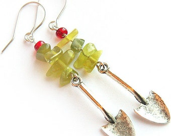 Summer Party Green Thumb Garden Earrings Miniature Silver Shovels Garden Tools Fun Gift Green Peridot Olivine Stone Nuggets Sterling wire
