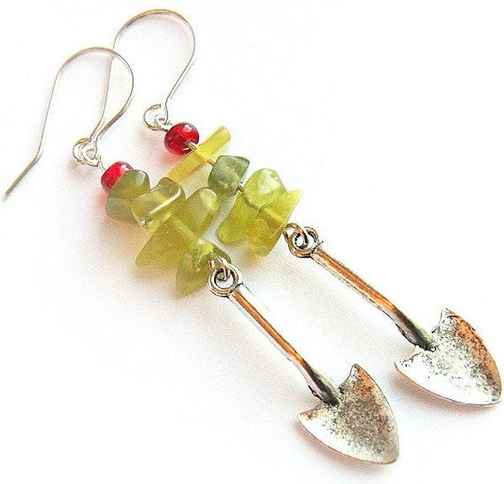 Green Thumb, Garden Earrings, Miniature Silver Shovels, Garden Tools, Fun Gift, Green Peridot Olivine Stone Nuggets, Sterling