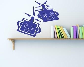Vinyl Wall Decal Sticker Robot Heads OSAA198s