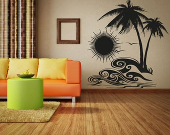 Vinyl Wall Decal Sticker Tropical Sunset OSAA267s