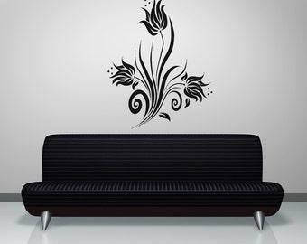 Vinyl Wall Decal Sticker Swirly Tulips OSAA363B