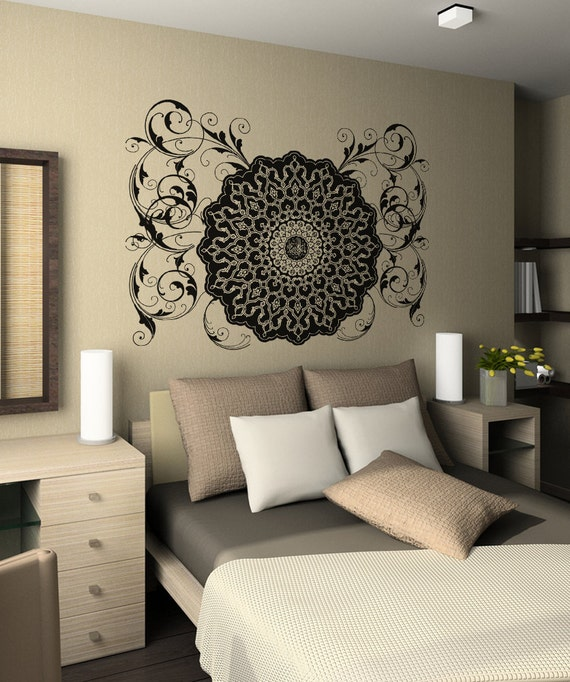 Vinyl Wall Decal Sticker Arabic Flower Circle Design Osaa347b