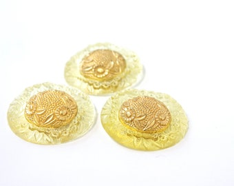Yellow Flower Vintage Button - 1950s Plastic Metal Buttons - New Old Stock Buttons - Gold Button