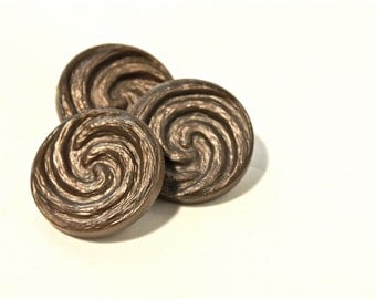 Swirl Vintage Buttons - 1960s Plastic Buttons - New Old Stock Buttons - Bronze Button - Plastic Shank