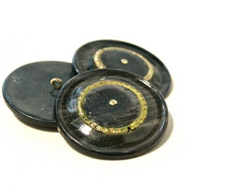 Navy Vintage Buttons - 1950s Plastic Buttons - New Old Stock Buttons - Silver Green Buttons - Metal Shank