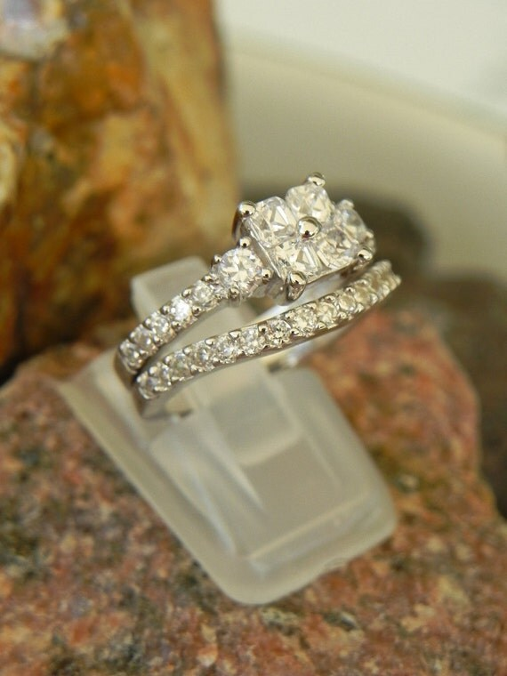 Sterling Wedding and Engagement Ring Set