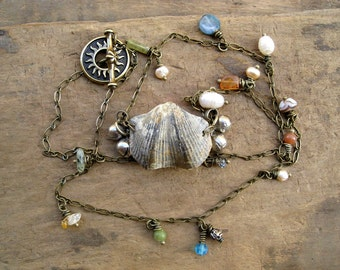 Seashell Fossil Necklace, whimsical Bohemian style tribal ocean beach nautical jewelry with bells, pearls, & shell fossil