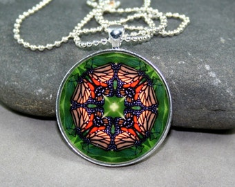 Monarch Butterfly Mandala Pendant Necklace Sacred Geometry Kaleidoscope Boho Chic Unique Gift For Her Bohemian New Age Hippie Monarch Melody