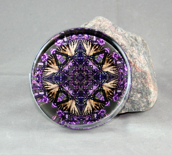 Butterfly Glass Paperweight Boho Chic Mandala New Age Sacred Geometry Hippie Kaleidoscope Wafting Spirit