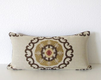 Kravet medallion suzani 8x16 tan brown red mini lumbar pillow cover