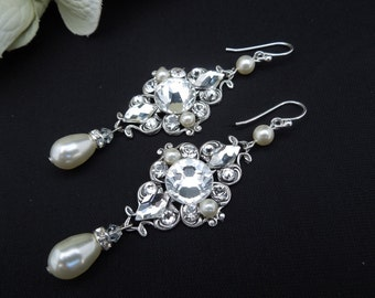 bridal Pearl earrings, Swarovski Crystal Earrings, bridal Chandeliers Earrings, Statement bridal Earrings, Bridal Wedding Earrings, GIULIANA