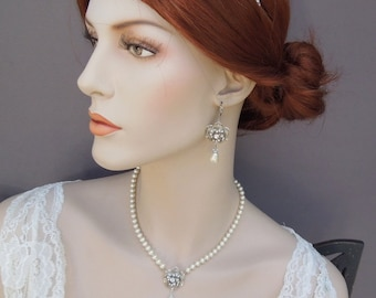 Bridal Necklace, White Swarovski Pearls, Pearl Bridal Necklace, Pearl Rhinestone Necklace, Statement Bridal Necklace, Pearl, Rose, ROSELANI
