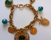 1980s Gold and Green German Charm Bracelet