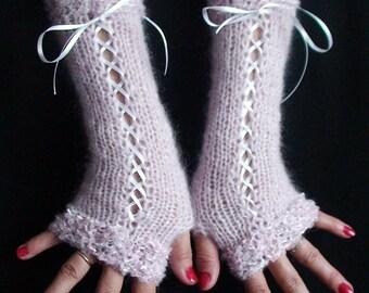 Corset Fingerless Gloves Long Arm Warmers Light Pink