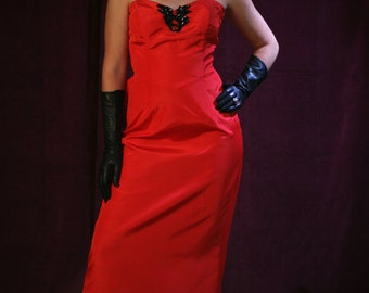 "Vintage 80s Gown / 50s Style Prom, Red Bombshell Gown: Marilyn Monore ""Diamonds Dress"" by Jessica McClintock"