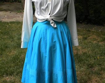 Vintage 50s Cotton Circle Skirt in Teal, Small