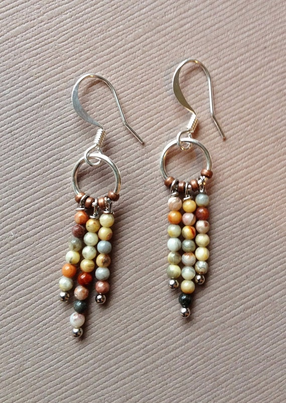 jasper and silver small dangle earrings