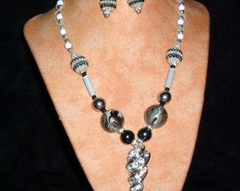 Hemp Necklace K20 White Diamonds