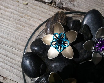 Everlasting Flower in silver and teal and black
