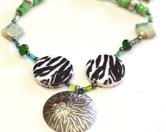 Green, Black and White Zebra Beaded Mixed Bead Necklace with Large Silver Pendant - Chunky style necklace - Trending Items