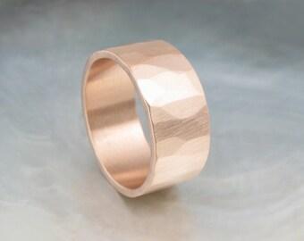 organic wedding band -- 9mm wide rustic wedding ring in 14k rose gold