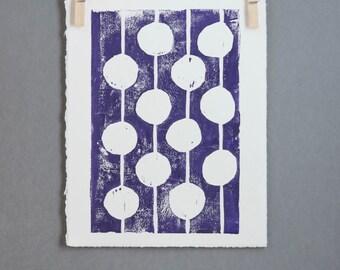 Purple Polka Dot Mid Century Modern Linocut Art Poster 8x10 Bulbs