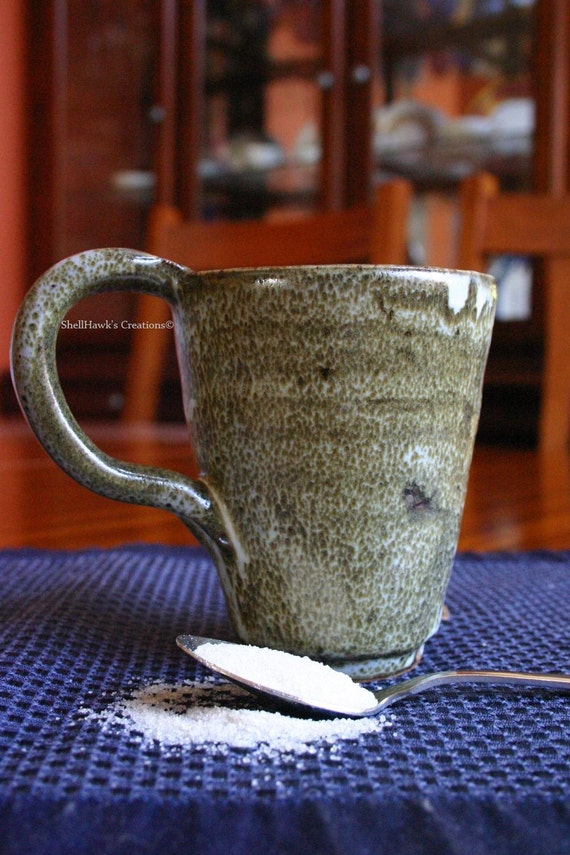 Coffee Tea Mug Cup in Speckled Mossy Green and White