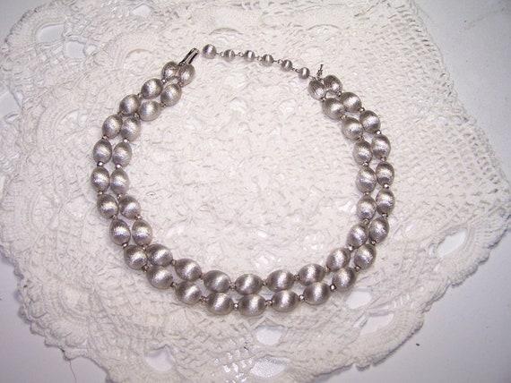 Trifari Silver Double Beaded Necklace Signed Designer Vintage BOHO Vtg 50s Cocktail Choker Crown