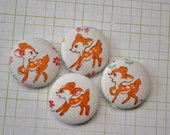 4 deers fawn handmade fabric covered buttons 1 1/8 inches