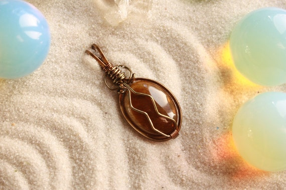 SALE - Golden Tiger's Eye Wire-Wrapped Pendant - in Antiqued Bronze Wire - 25% off