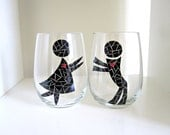 Hand Painted Wine Glasses- His and Hers People in Love Glassware- Set of 2
