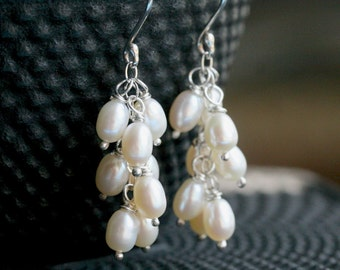 Freshwater pearl cluster earrings, white freshwater pearls, sterling silver, wire wrapped, dangle, drop, Mimi Michele Jewelry