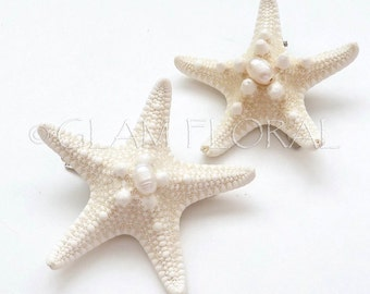 2 Natural Starfish Hair Clips, Freshwater Pearls-  Knobby Starfish - natural/ cream white, ivory - Destination. Beach Wedding