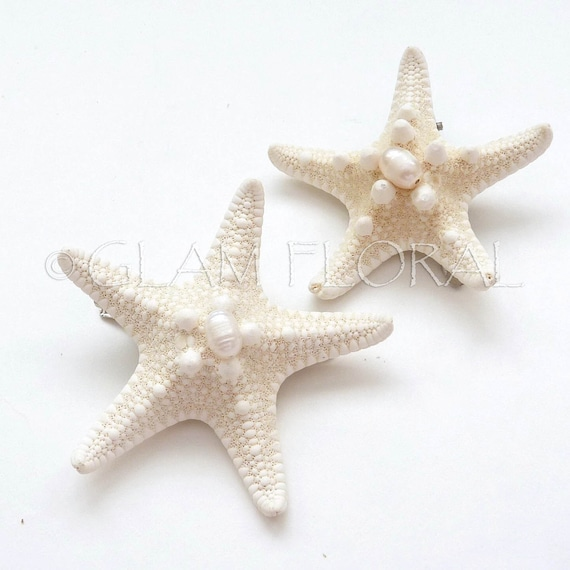 2 Natural Starfish Hair Clips, Freshwater Pearls-  Knobby Starfish - natural/ cream white, ivory - Destination. Beach Wedding