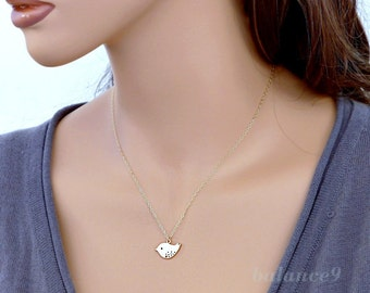 Gold bird Necklace, small dove charm pendant, 14k gold filled chain, delicate everyday jewelry, holidays gift, by balance9