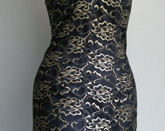 Vintage 90's Slip Dress - Gold Metallic Lace Overlay With Roses, Cocktail Wiggle Dress