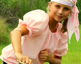 Child Pirate , Pirates Girl Halloween Costume Pink Shirt and Pink crushed velvet Bandana