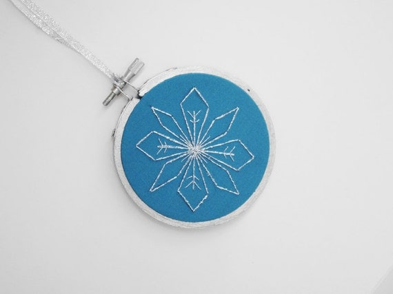"""RESERVED FOR JESSICA - Tiffany Blue and Silver Snowflake 3"""" Embroidery Hoop Christmas Ornament"""