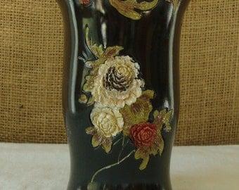 MID CENTURY Black Floral Art Vase  Hand Painted  - China
