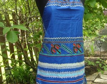 One of a kind Sapphire Blue with tribal print cotton halter sundress