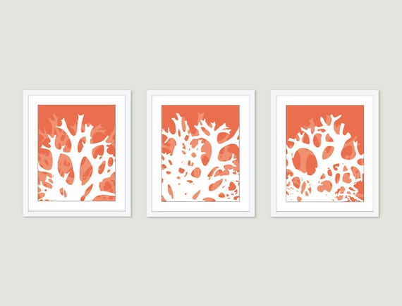 Coral Digital Print Set Multi Panel Abstract Modern Home Decor - Summer- Simple Sea Life Art