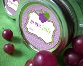 Grape Jelly Canning Jar labels, 2 inch round stickers for fruit preservation, regular or wide mouth available